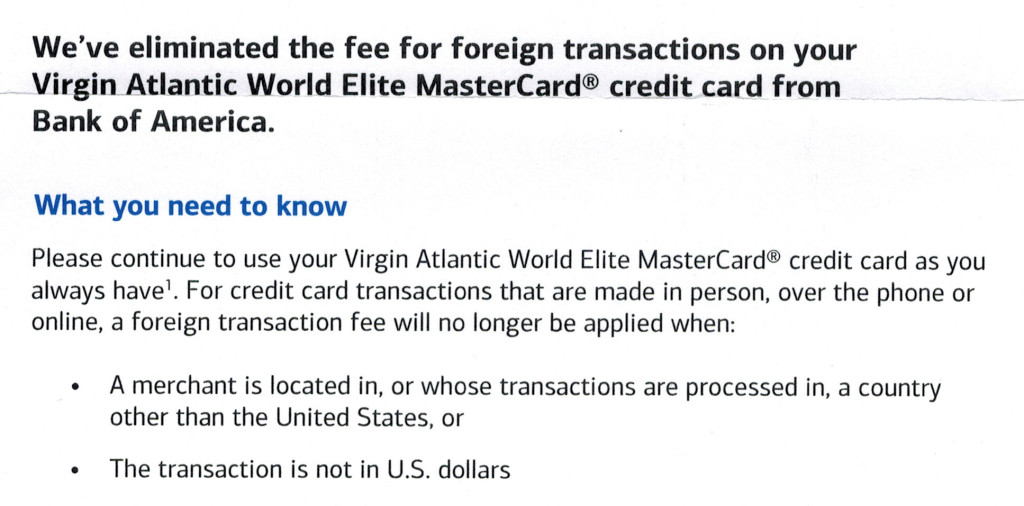 BofA Virgin Atlantic MasterCard FX Fee Notice