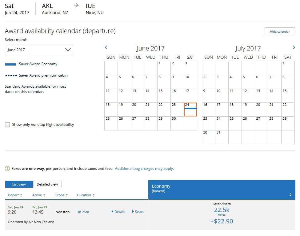 AKL-IUE Award Flight June 2017