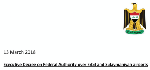 Executive Decree on Federal Authority of Erbil and Sulaymaniyah Airports