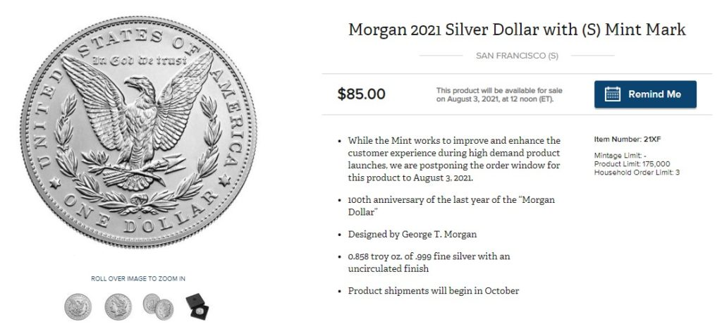 US Mint Coin Deal 3 August 2021